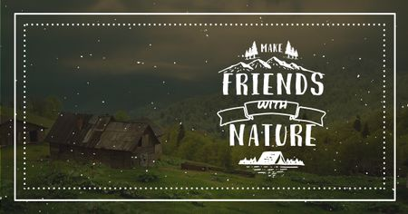 Eco concept Village in Green Mountains Facebook AD Design Template