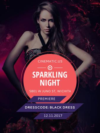 Ontwerpsjabloon van Poster US van Night Party Invitation Woman in Black Dress