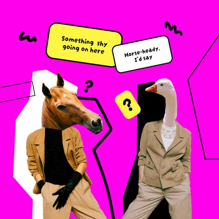 Funny Conversation of Horse and Goose Instagramデザインテンプレート