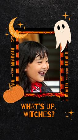 Halloween Celebration with Happy Smiling Girl Instagram Video Story Design Template