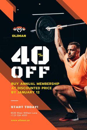 Gym Promotion with Man Lifting Barbell Tumblr tervezősablon