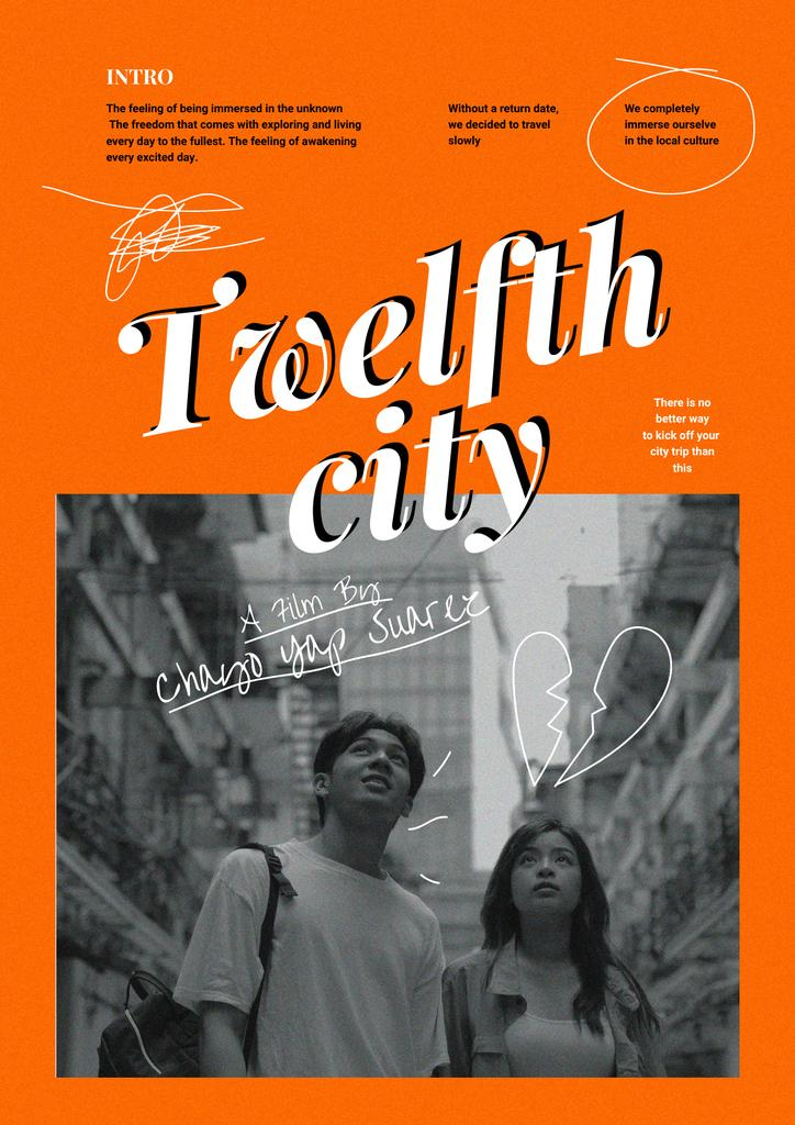 Template di design Movie Announcement with Couple in City Poster