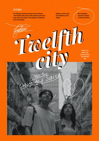 Movie Announcement with Couple in City Poster – шаблон для дизайна