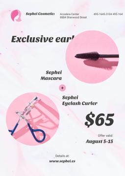 Cosmetics Sale with Mascara and Eyelash Curler