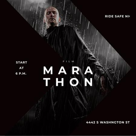 Film Marathon Ad Man with Gun under Rain Instagram AD Design Template