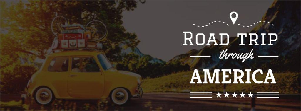 Road trip Offer with old car — Modelo de projeto