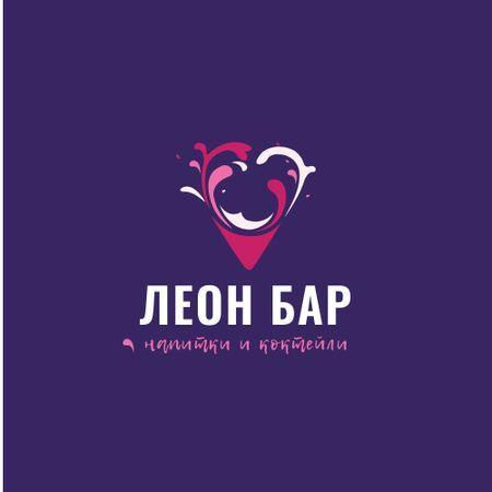 Bar Promotion with Drink Splashes in Heart Logo – шаблон для дизайна