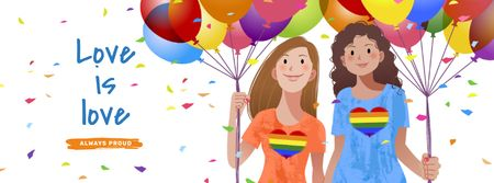 Template di design Pride Month with Two Girls holding Hands Facebook cover