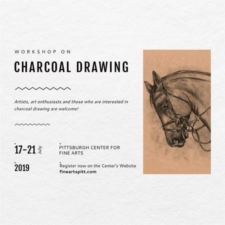 Drawing Workshop Announcement Horse Image Instagram AD Modelo de Design
