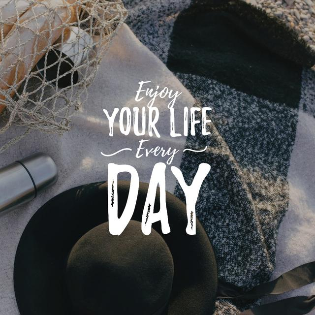 Lifestyle Inspiration with Picnic at beach Instagram Design Template