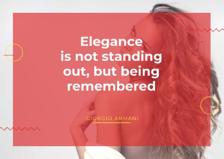 Elegance quote with Young attractive Woman Postcard Tasarım Şablonu