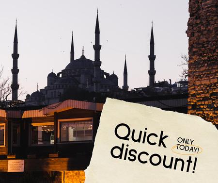 Ontwerpsjabloon van Facebook van Travel Discount Offer with Mosque