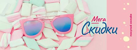 Shop Offer with pink Sunglasses and Marshmallows Facebook cover – шаблон для дизайна