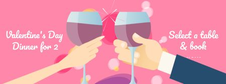 Plantilla de diseño de Lovers with wine on Valentine's Dinner  Facebook Video cover