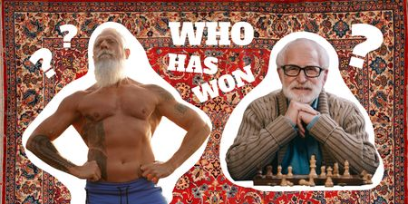 Funny Muscular Old Man and Chess Player Old Man Twitter Design Template