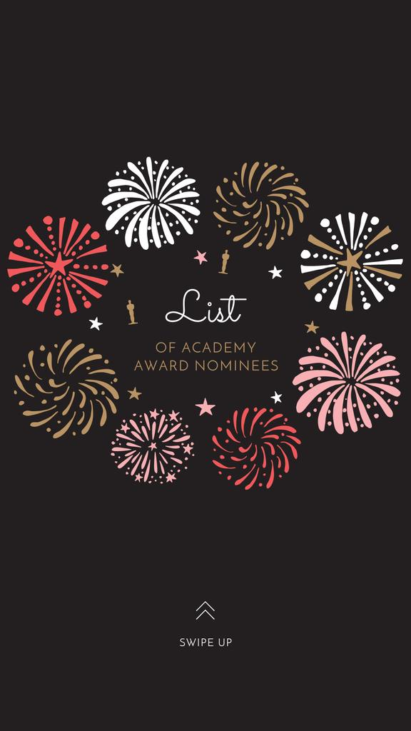 Plantilla de diseño de Oscar Event Announcement with Festive Fireworks Instagram Story