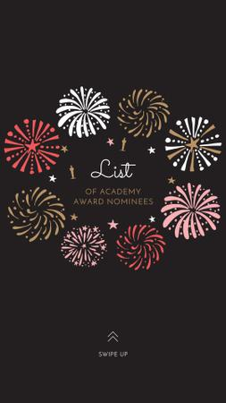 Designvorlage Oscar Event Announcement with Festive Fireworks für Instagram Story