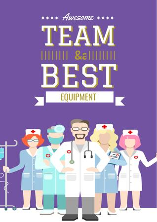 Plantilla de diseño de Medical Center Advertisement with Team of Doctors Poster