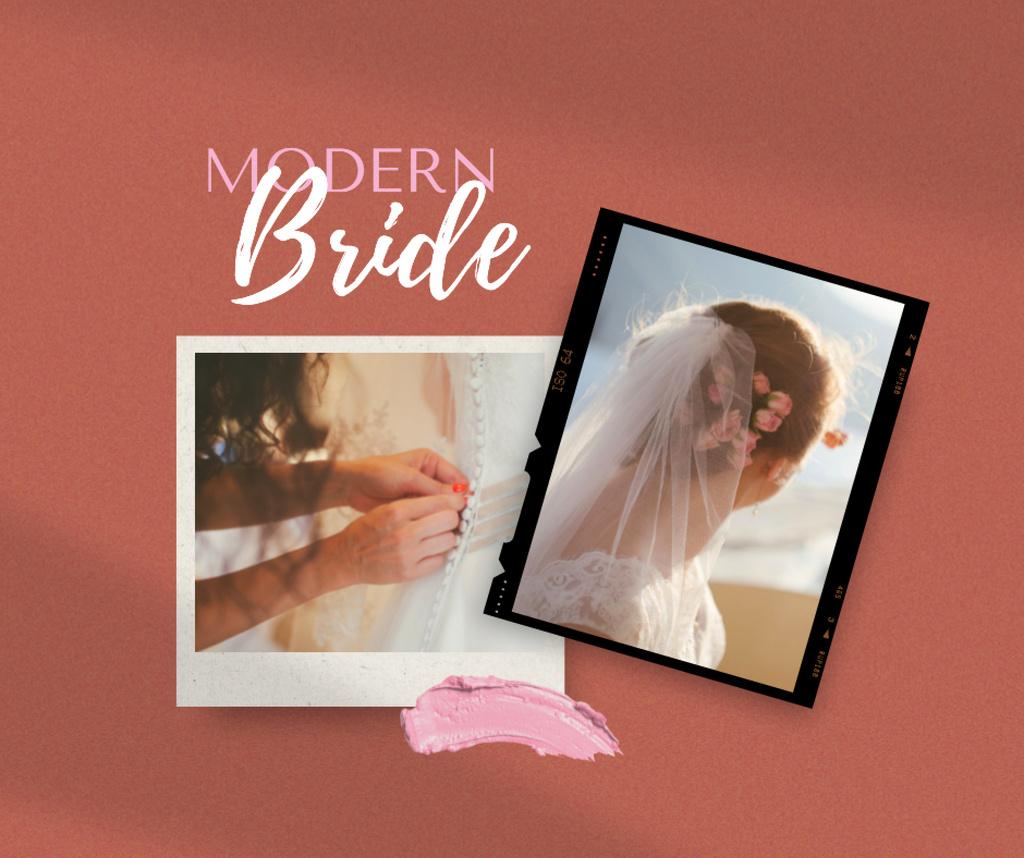 Beautiful Bride with Flowers in Hair on Wedding Facebook Modelo de Design