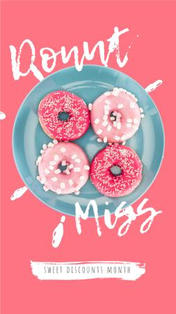 Bakery Offer Delicious Pink Doughnuts Instagram Video Story Modelo de Design