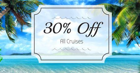 Plantilla de diseño de Summer Trip Offer Palm Trees by Sea Facebook AD