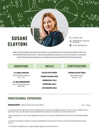 English Teacher professional skills and experience Resume Modelo de Design