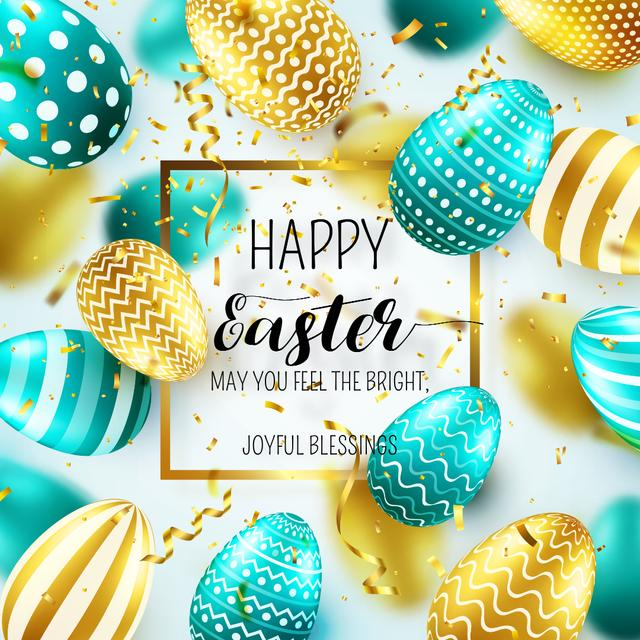 Happy Easter Day with Bright Easter Eggs Instagram Design Template