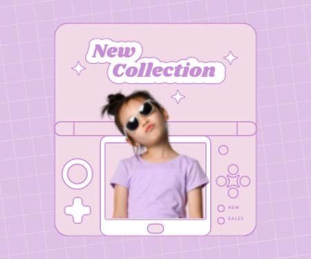 Modèle de visuel New Kids Fashion Collection Announcement with Stylish Little Girl - Large Rectangle