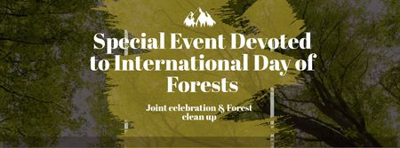 International Day of Forests Event with Tall Trees Facebook cover – шаблон для дизайну