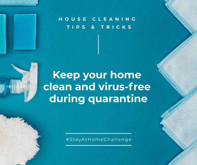 Ontwerpsjabloon van Facebook van #StayAtHomeChallenge with Sanitizer and Soap