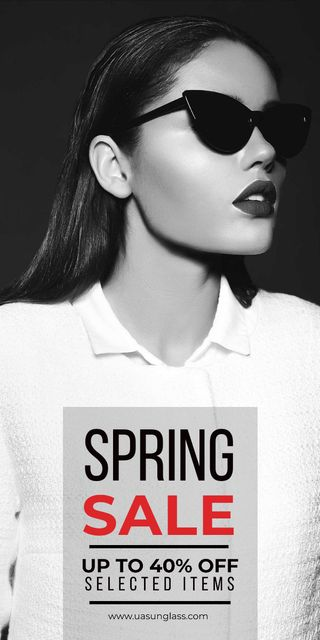 Spring sale poster with woman in sunglasses Graphic Modelo de Design