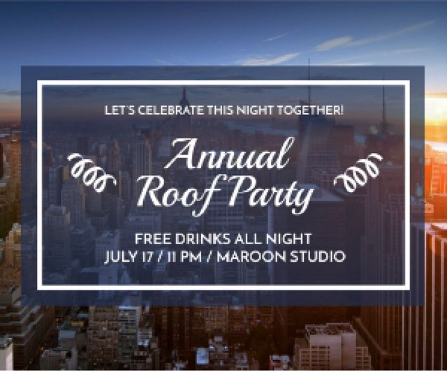 Roof party invitation Medium Rectangle Modelo de Design