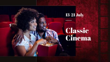Plantilla de diseño de Movie Night Announcement with Cute Couple in Cinema FB event cover