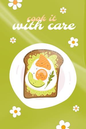 Plantilla de diseño de Delicious Sandwich with Fried Egg Pinterest