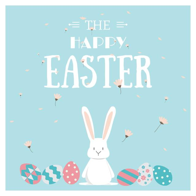 Easter Cute Bunny with Colored Eggs Instagram Design Template