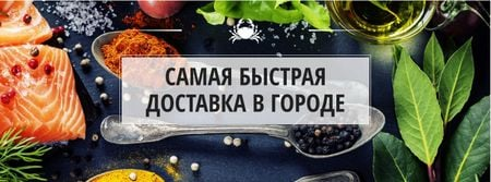 Salmon and spices on table Facebook cover – шаблон для дизайна
