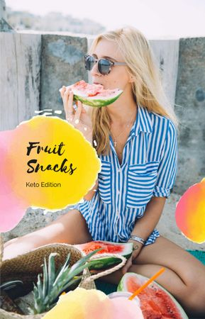 Plantilla de diseño de Woman eating Watermelon IGTV Cover