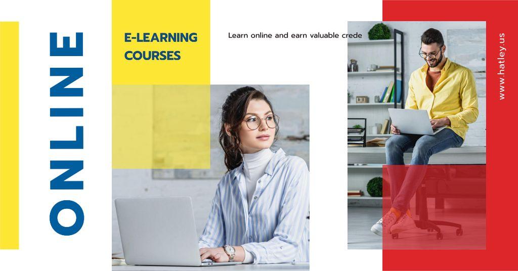 Plantilla de diseño de Online Courses Ad People Working on Laptops Facebook AD