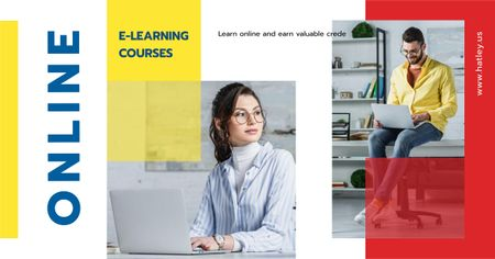 Designvorlage Online Courses Ad People Working on Laptops für Facebook AD