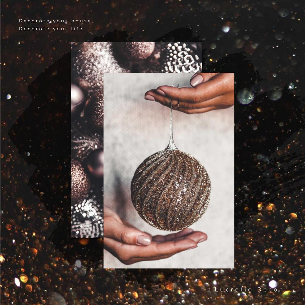 Decor Studio Ad with Hands holding Bauble — Crear un diseño