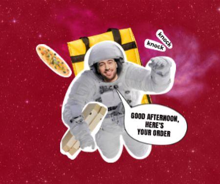 Modèle de visuel Funny Astronaut Delivery Man with Pizza - Medium Rectangle