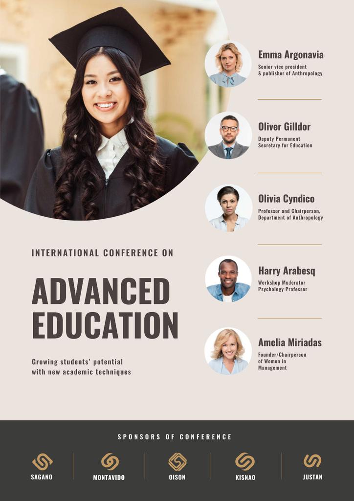 Education Conference Announcement with Girl in Graduation Cap — Crear un diseño