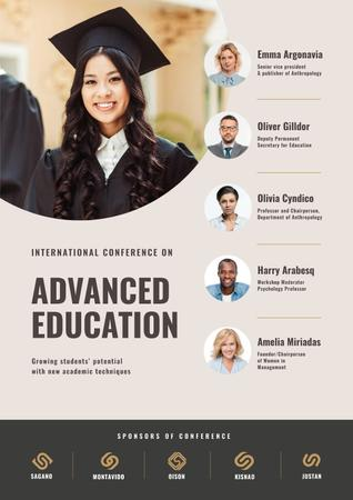 Education Conference Announcement with Girl in Graduation Cap Poster Modelo de Design
