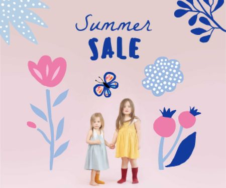 Summer Sale Announcement with Cute Little Girls Large Rectangle Design Template