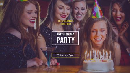 Plantilla de diseño de Birthday Party Announcement with Girls celebrating FB event cover