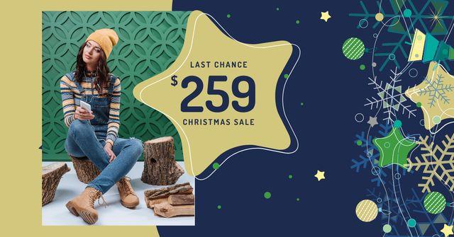 Christmas Sale Girl in Denim Overalls Facebook AD Design Template