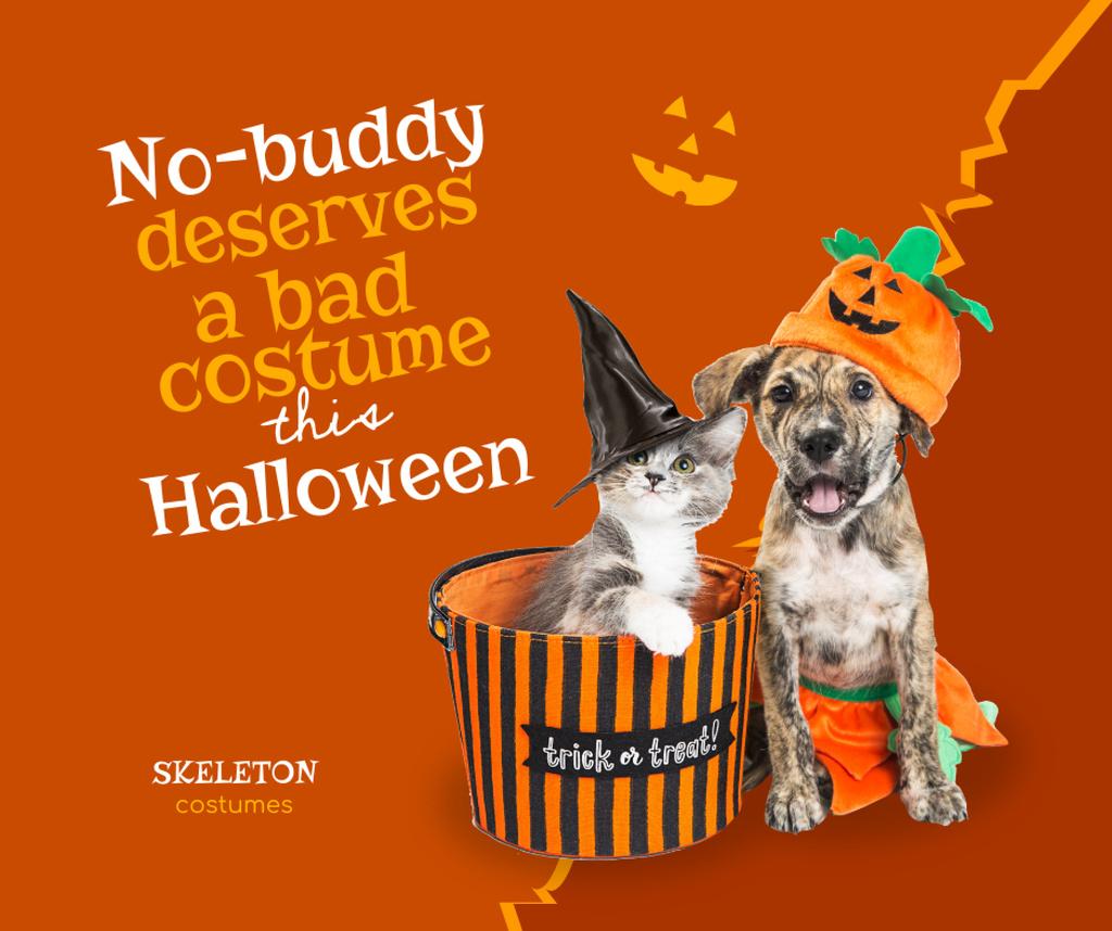 Plantilla de diseño de Funny Animals in Halloween Costumes Facebook