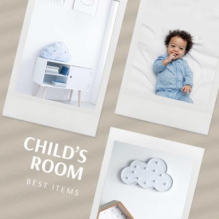 Ontwerpsjabloon van Instagram van Child's Room Furniture and Decorations Offer