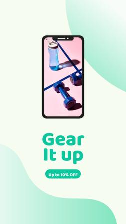 Template di design Sports Equipment on Phone Screen Instagram Story