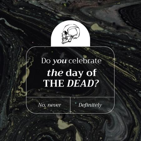Day of the Dead Holiday Announcement with Skull Illustration Animated Post – шаблон для дизайна